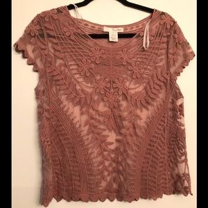 Say What? Blush Pink Lace Crop S/S Blouse size L
